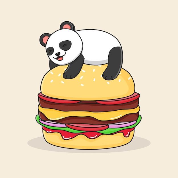 ハンバーガーの上にかわいいパンダ Premiumベクター