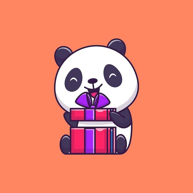 Cute panda opening birthday Premium Vector