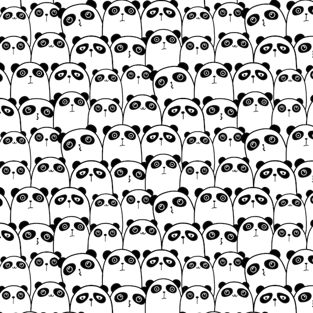 Cute panda pattern background. Premium Vector