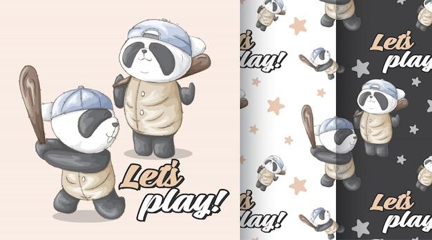 Cute panda pattern vector set Premium Vector