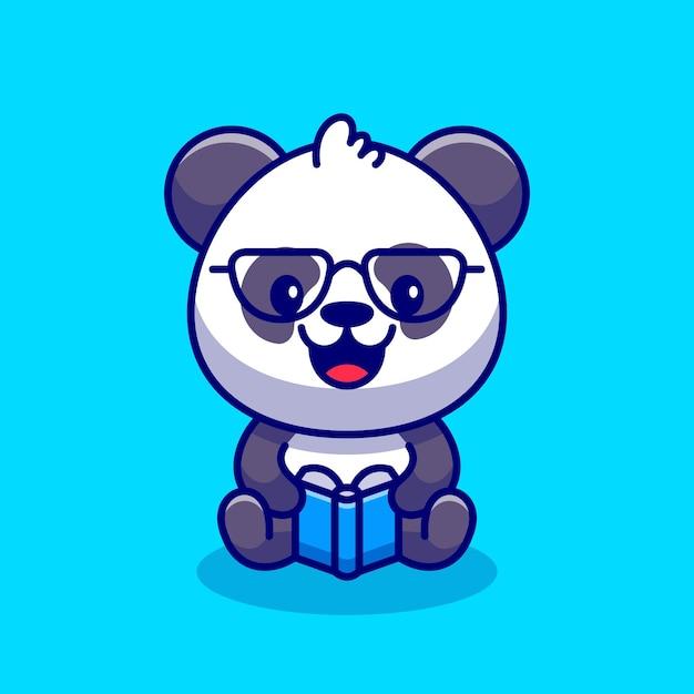 Illustrazione dell'icona del fumetto del libro di lettura del panda sveglio. Vettore gratuito
