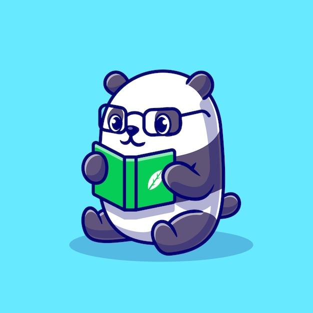 Милая панда читает книгу мультфильм Бесплатные векторы