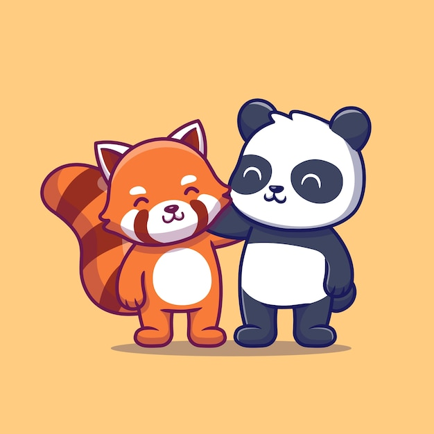Cute panda and red panda. animal friend Free Vector