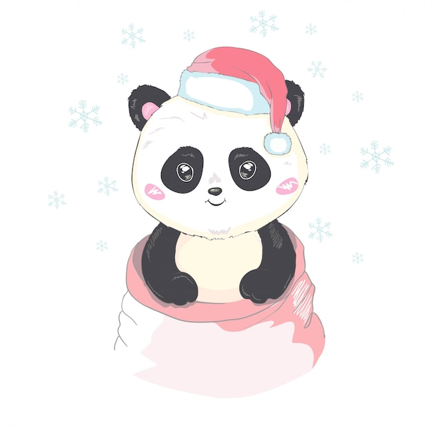 Premium Vector   Cute panda in santa's hat in red bag with gifts vector  image isolated. cartoon panda bear gets out of santa claus's sack. funny  bearcat children's xmas design. merry christmas