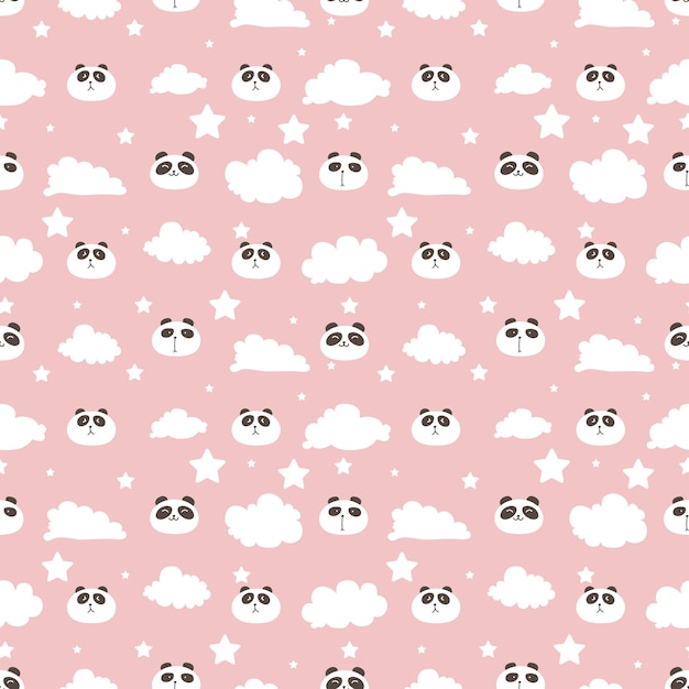 Cute panda seamless pattern background Premium Vector