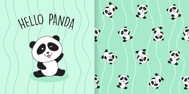 Cute panda seamless pattern Premium Vector