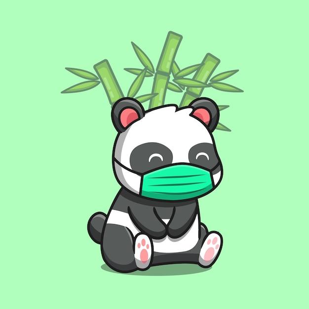 Panda sveglio che si siede e che indossa la maschera con l'illustrazione di vettore del fumetto di bambù. concetto di natura animale isolato vettore premium. stile cartone animato piatto Vettore gratuito