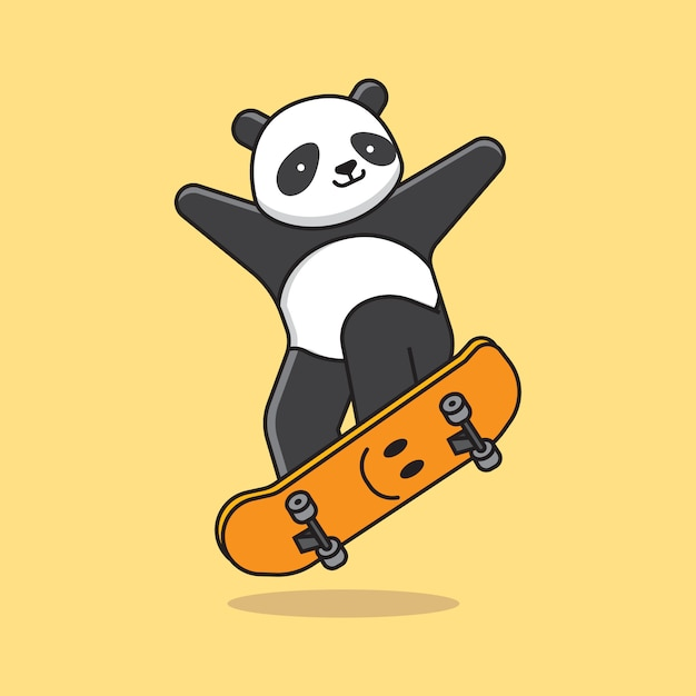 Симпатичная панда скейтборд Premium векторы