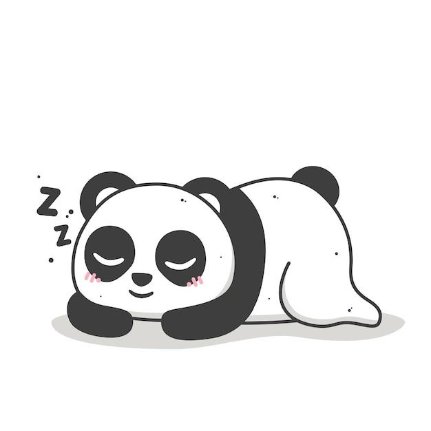 자고 웃고있는 귀여운 팬더 프리미엄 벡터