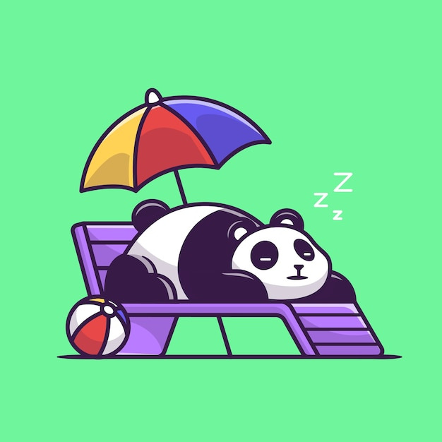 Cute panda sleeping on beach bench cartoon vector  illustration. Free Vector