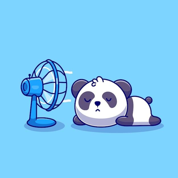 Милая панда спит перед вентилятором иллюстрации шаржа значок. концепция значок технологии животных изолированы. плоский мультяшном стиле Premium векторы