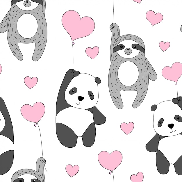 Cute panda and sloth fly on balloons. Premium Vector