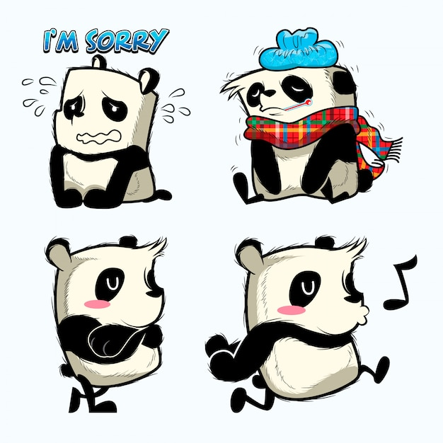 Cute panda sticker, panda patches Premium Vector
