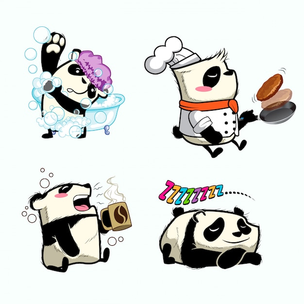 Cute panda sticker, panda patches Premium Vector