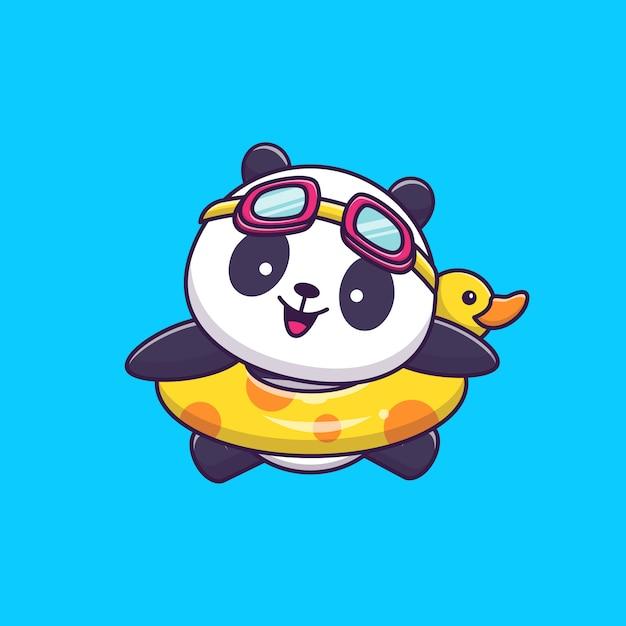 Cute panda swimming with swim ring Premium Vector