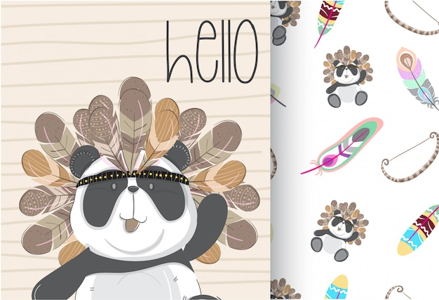 Cute panda tribal with seamless pattern Premium Vector