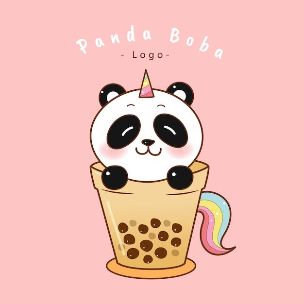 Милый панда единорог в пузырь чайная чашка. Premium векторы