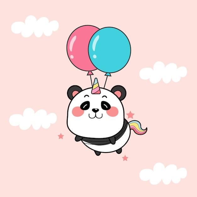 Милый панда единорог с воздушными шарами. Premium векторы
