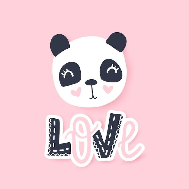 Cute panda vector illustration. funny cartoon animal character. Premium Vector