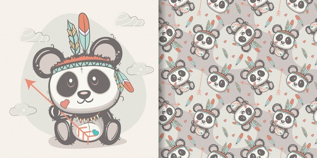 Cute panda with feathers with seamless pattern Premium Vector