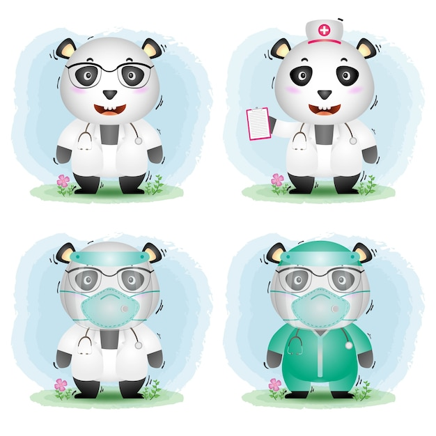 Cute panda with medical staff team doctor and nurse costume collection Premium Vector