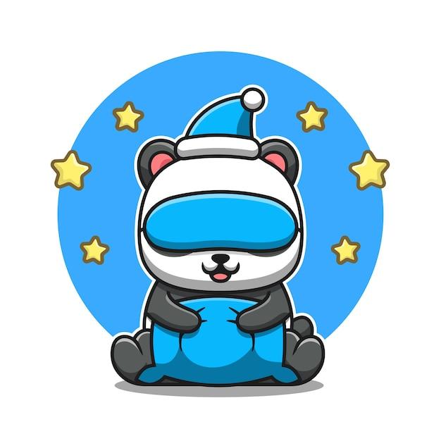 Милая панда с подушкой, маской для глаз и мультяшной шляпой. изолированная концепция значка животной природы. плоский мультяшном стиле Premium векторы