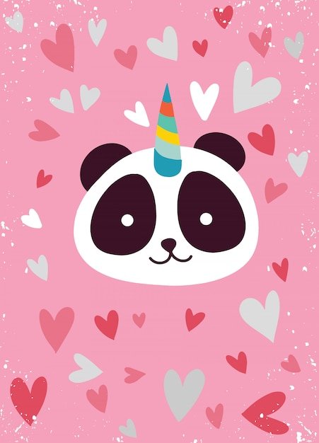 Cute panda with a unicorn horn Premium Vector