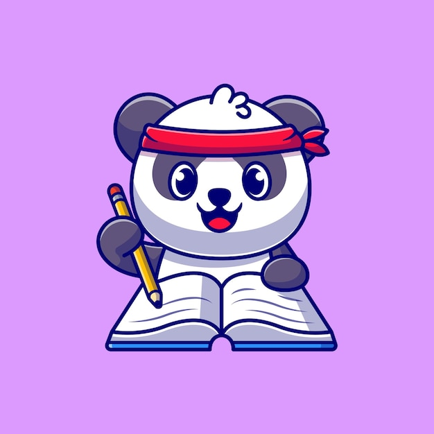 Cute panda writing on book with pencil cartoon icon illustration. Free Vector