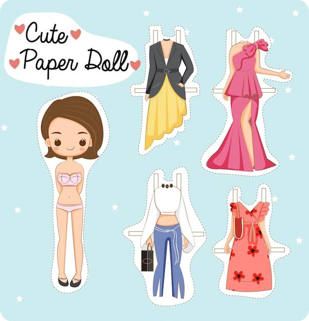 Cute paper doll girl Premium Vector