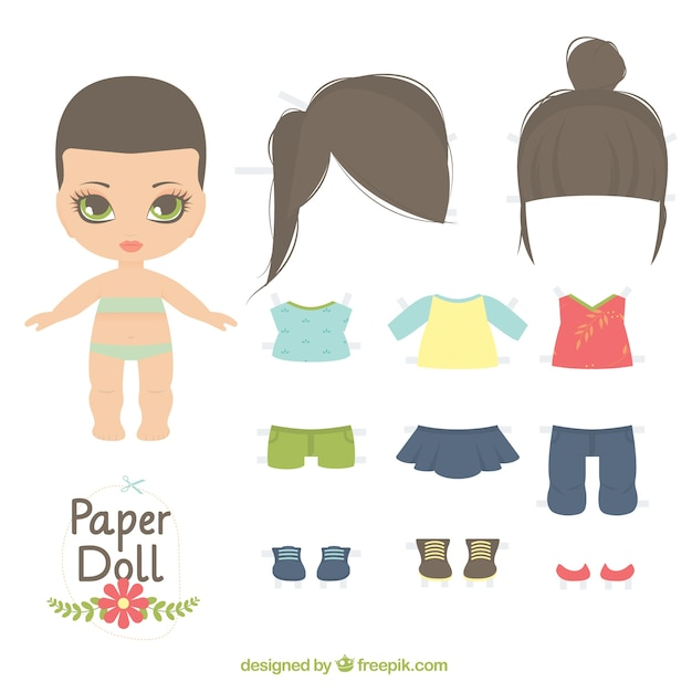 Cute paper doll Vector | Free Download