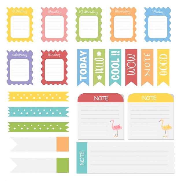 Cute paper notes. memo stickers Premium Vector
