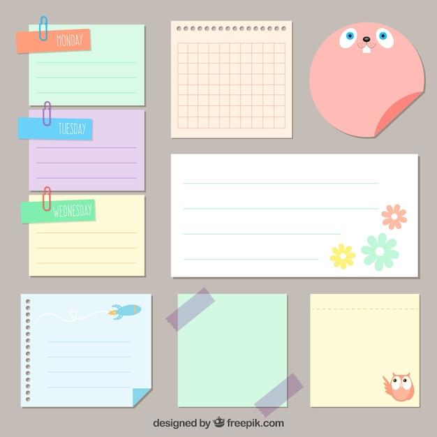 Cute paper notes pack Vector   Premium Download