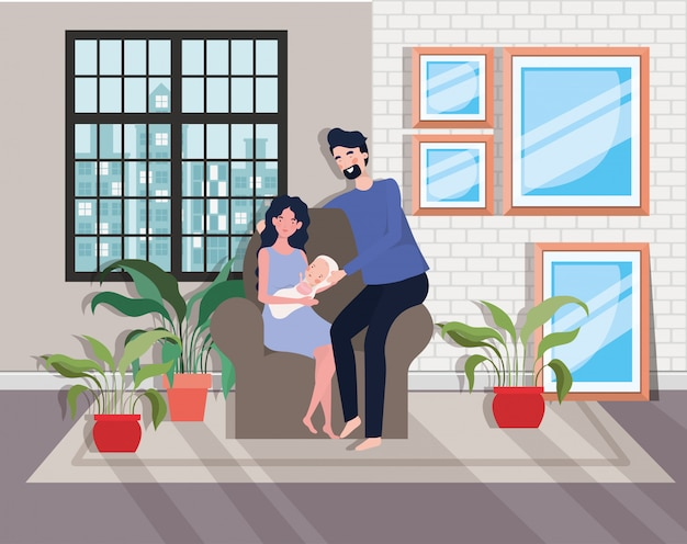 Cute parents couple with newborn  baby in sofa Free Vector