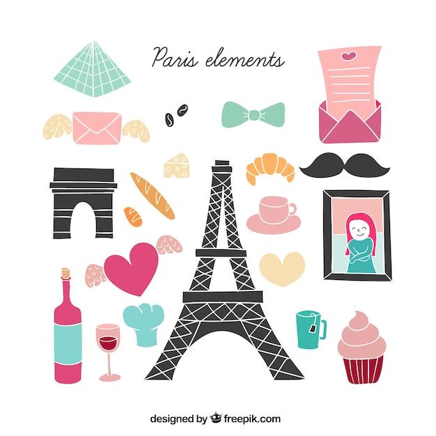 Cute paris elements illustration Premium Vector