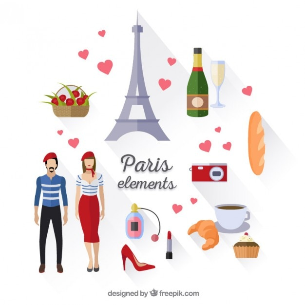 Cute Paris elements Free Vector