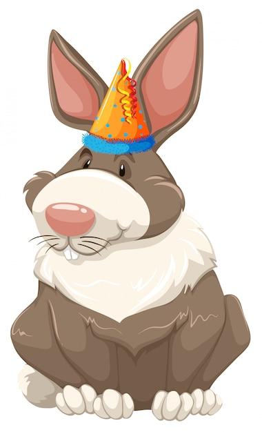 A cute party bunny Free Vector
