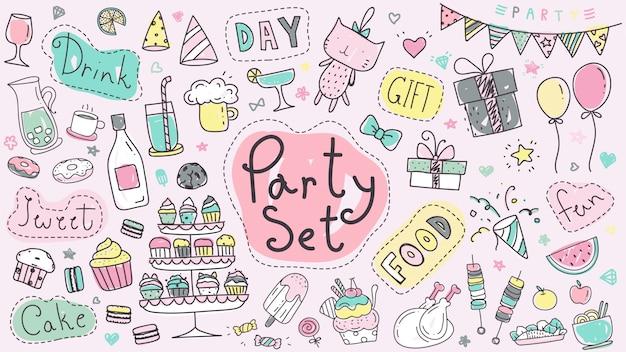 Cute party set hand drawn doodle in pastel color. Premium Vector
