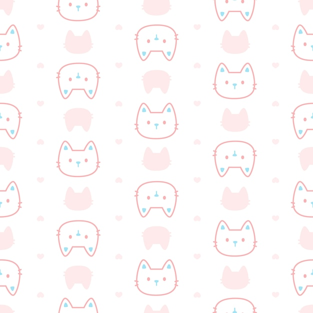 Симпатичный пастельный кот бесшовный фон Premium векторы