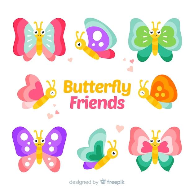 Симпатичная пастельная коллекция бабочек Premium векторы
