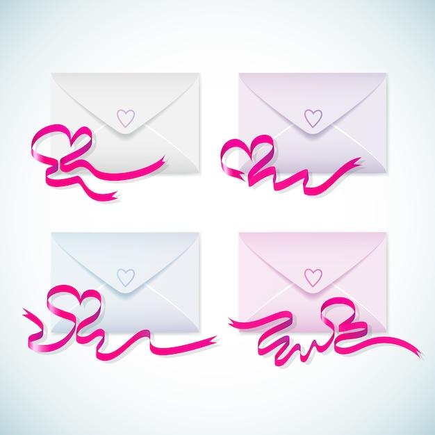 鮮やかな紫色のリボンとハートが分離されたかわいいパステルカラーの封筒 無料ベクター