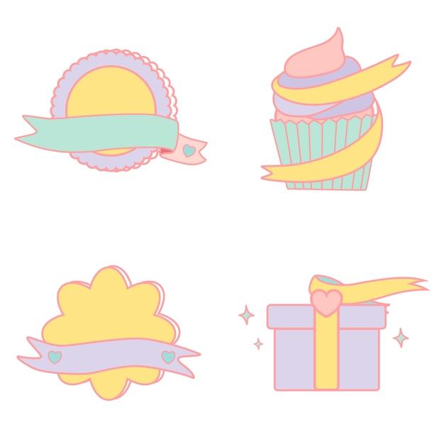 Cute pastel emblems vector set Free Vector