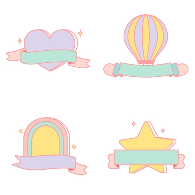 Cute pastel emblems vector set Free Vector