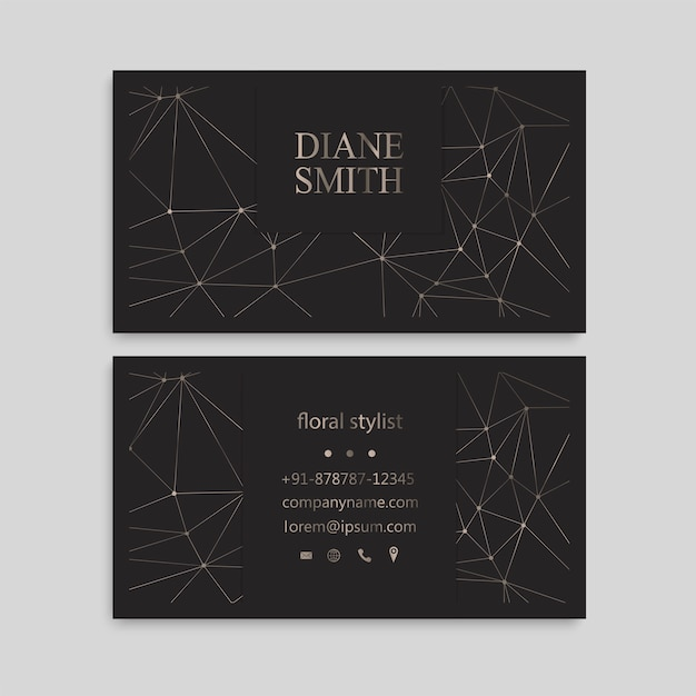 Cute pattern business card name card design template Free Vector