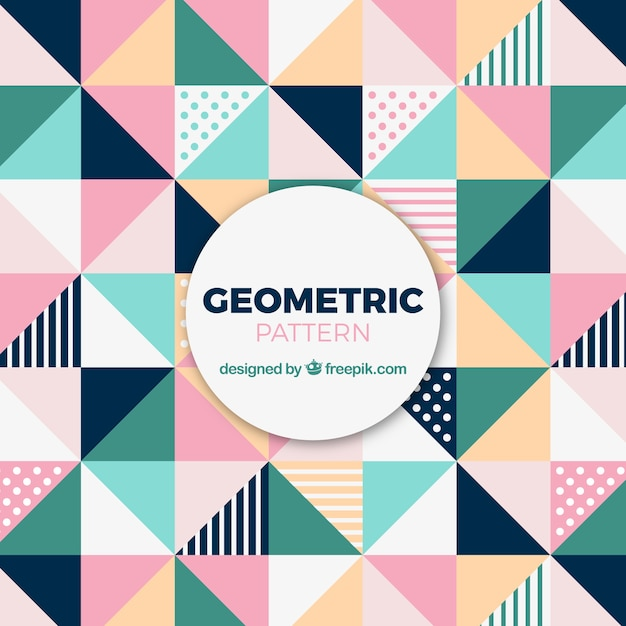 Cute pattern of colored triangles Free Vector