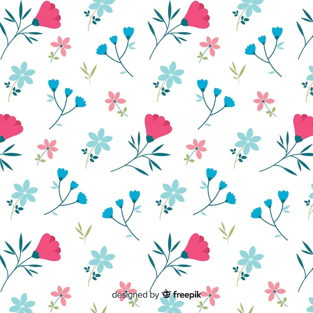 Cute pattern of flowers on white background Free Vector