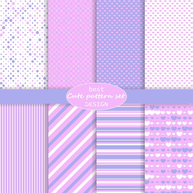 Cute pattern set. hearts background. valentine day . pink, violet colors. polka dot, stripes, hearts