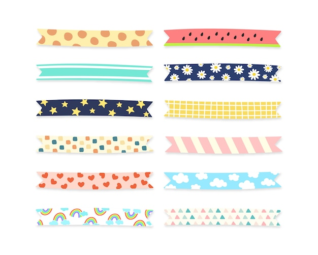 Cute pattern tape collection. Premium Vector
