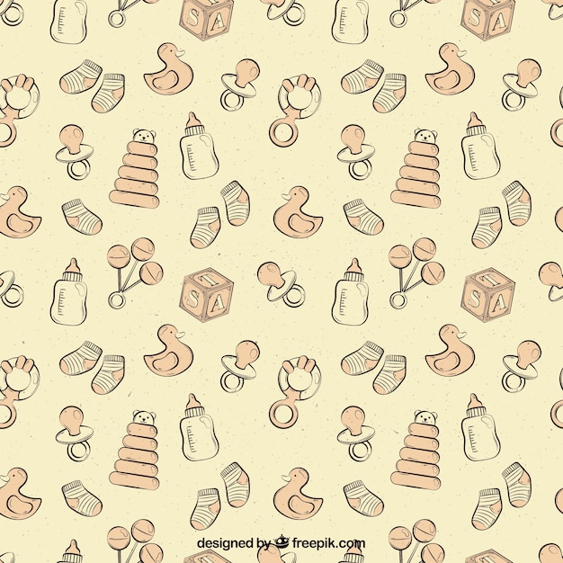 Cute pattern with baby elements in vintage\ style