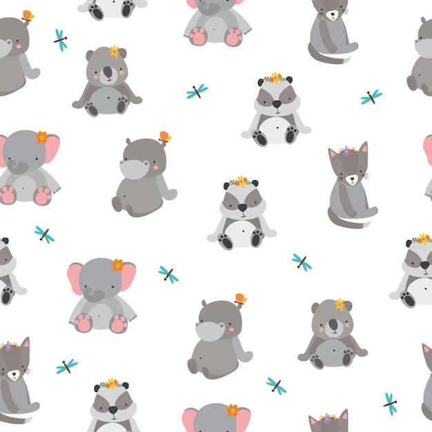 灰色の動物とかわいいパターン 無料ベクター