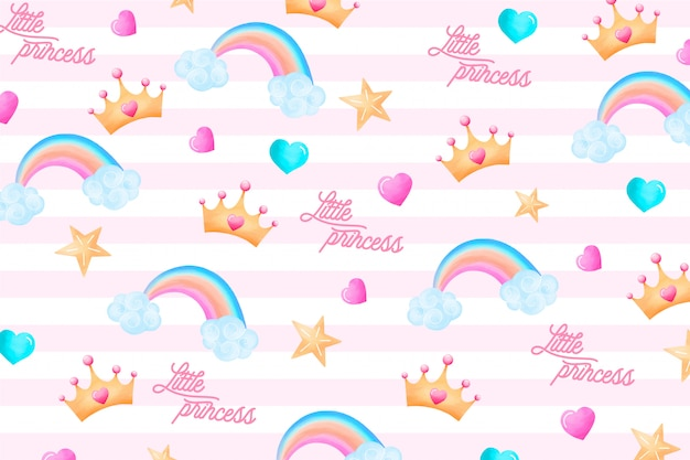 Cute pattern with lovely elements for a little princess Free Vector